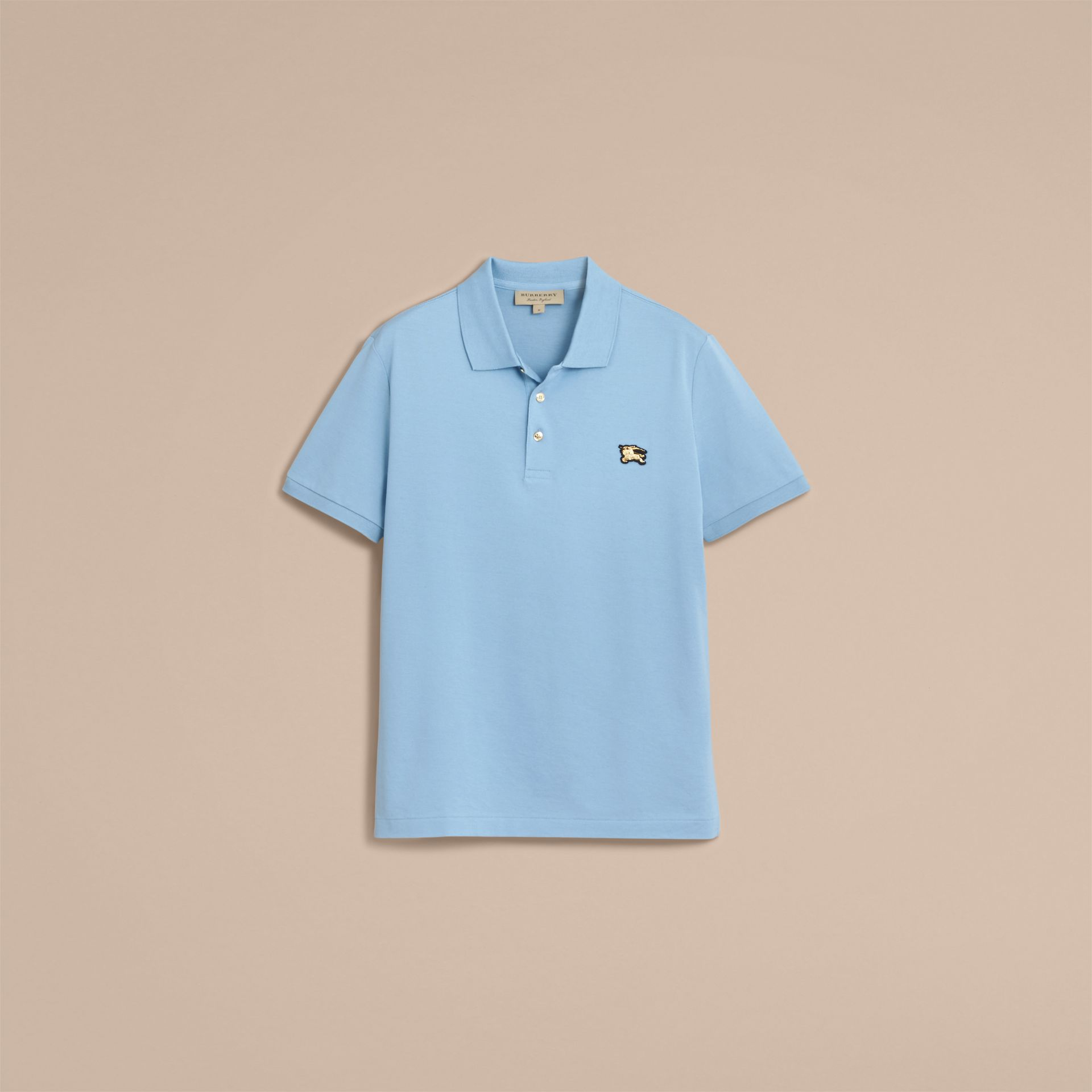 Fitted Mercerised Cotton-Piqué Polo Shirt Powder Blue - gallery image 4
