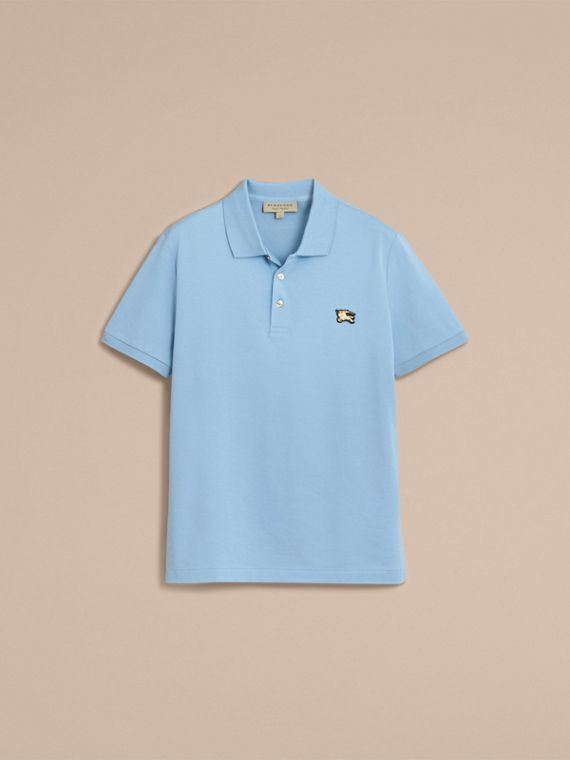 Fitted Mercerised Cotton-Piqué Polo Shirt Powder Blue - cell image 3