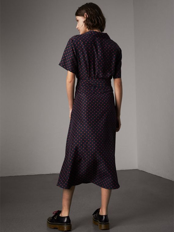 Polka-dot Silk Tea Dress in Parade Red - Women | Burberry - cell image 2