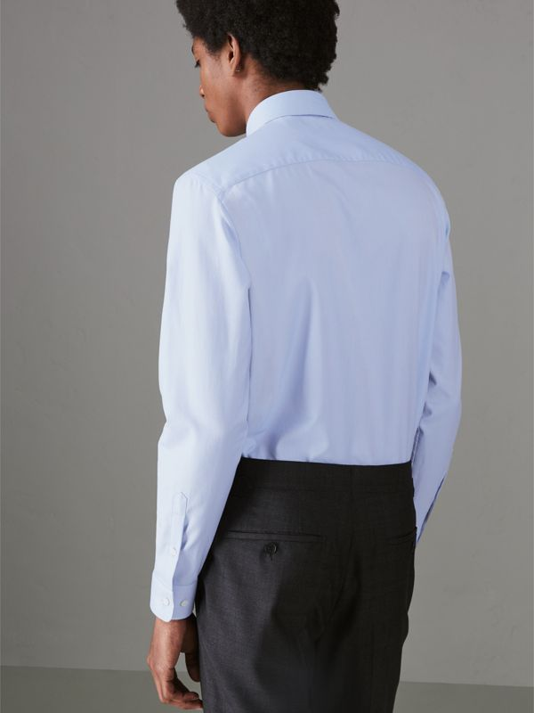 Modern Fit Cotton Shirt in Mid Blue - Men | Burberry United Kingdom - cell image 2