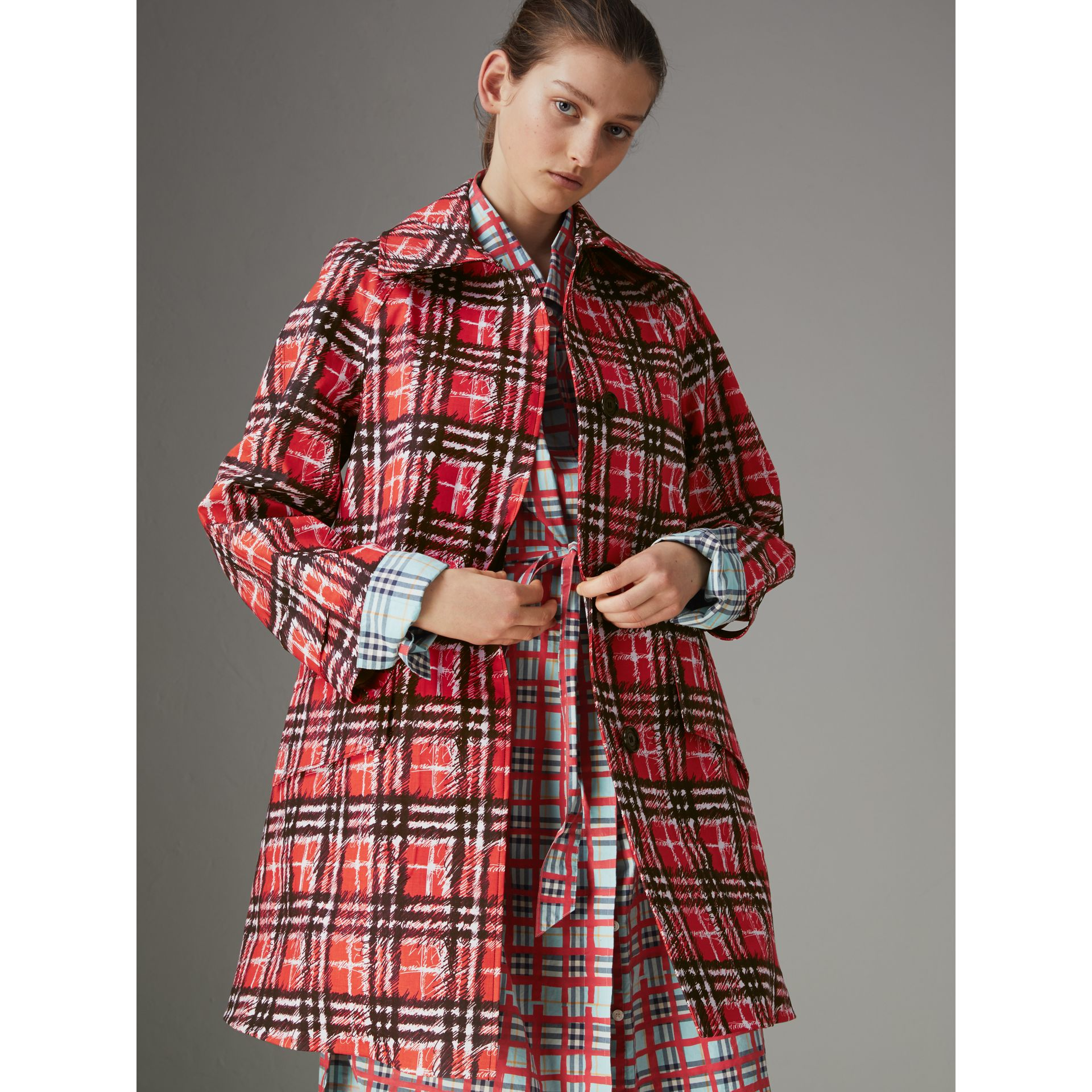 Scribble Check Bonded Cotton Car Coat in Bright Military Red - Women | Burberry - gallery image 6