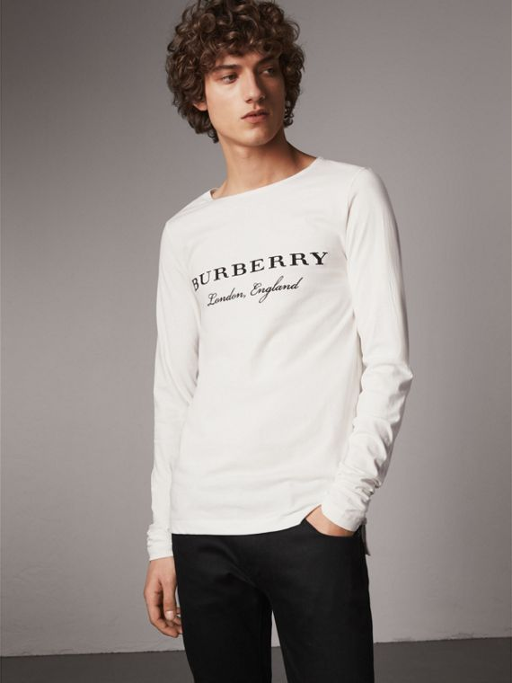 Long-sleeve Embroidered Cotton Top in Off White