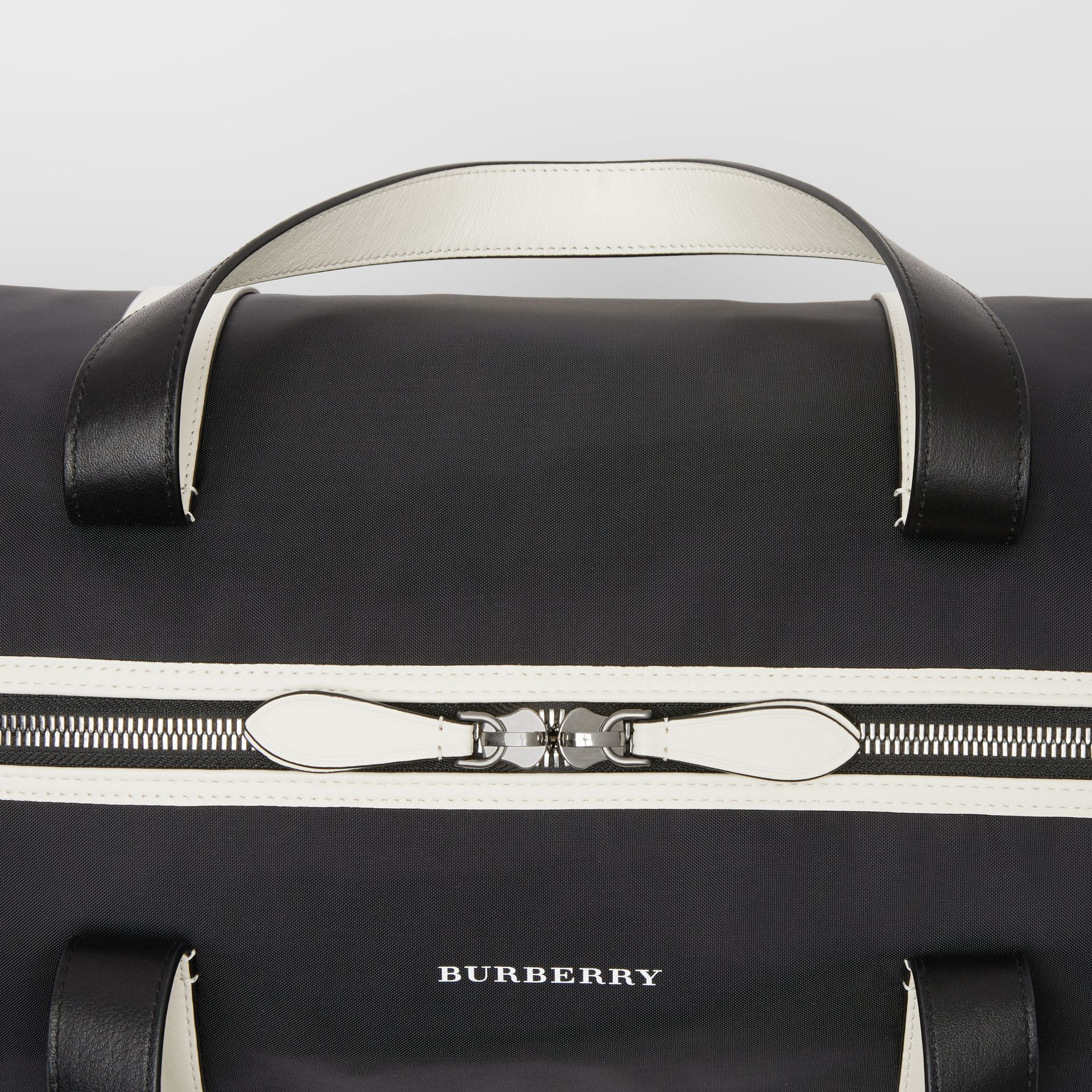 Medium Tri-tone Nylon and Leather Barrel Bag in Black - Men | Burberry - gallery image 1