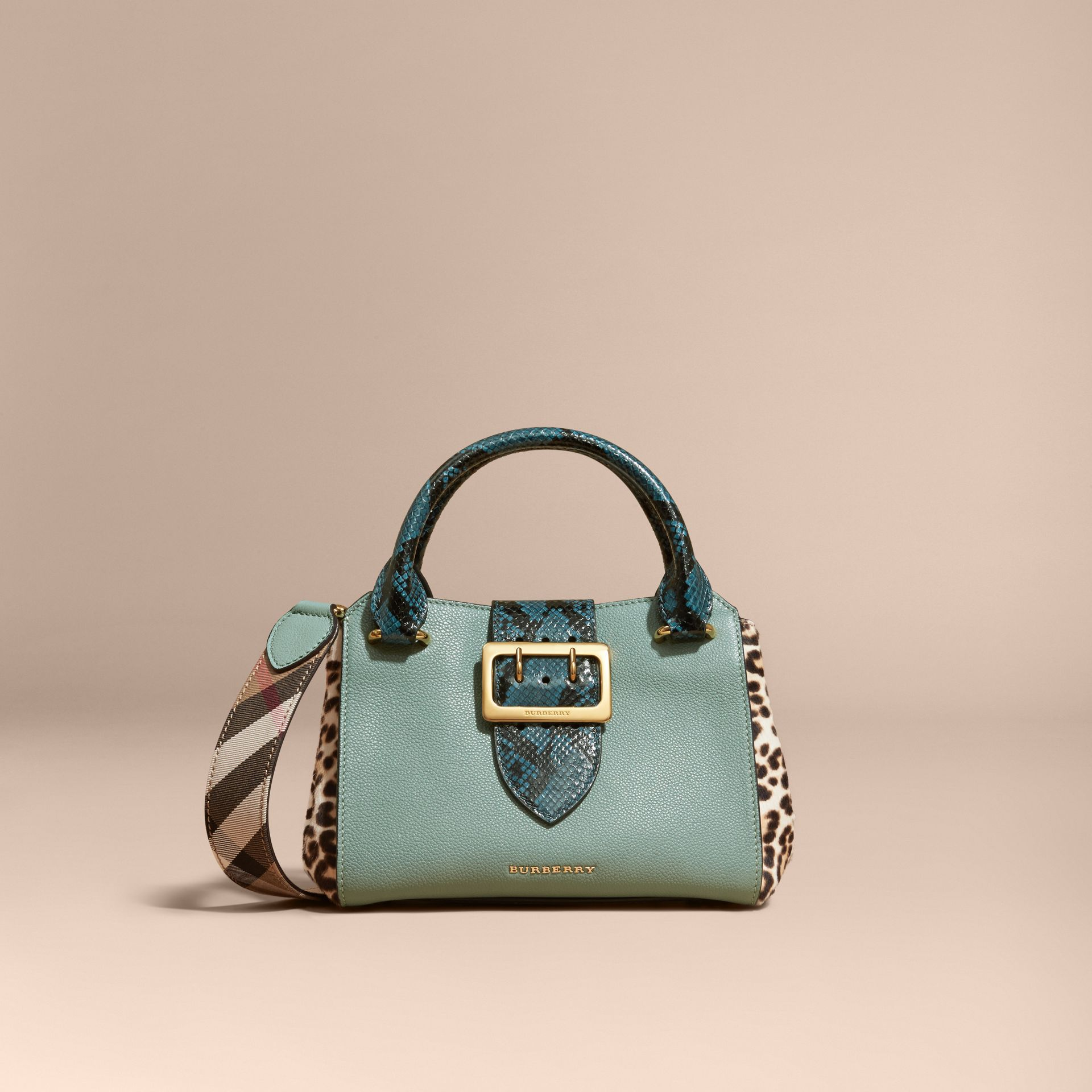 The Small Buckle Tote in Leather and  Leopard-print Calfskin Eucalyptus Green - gallery image 9