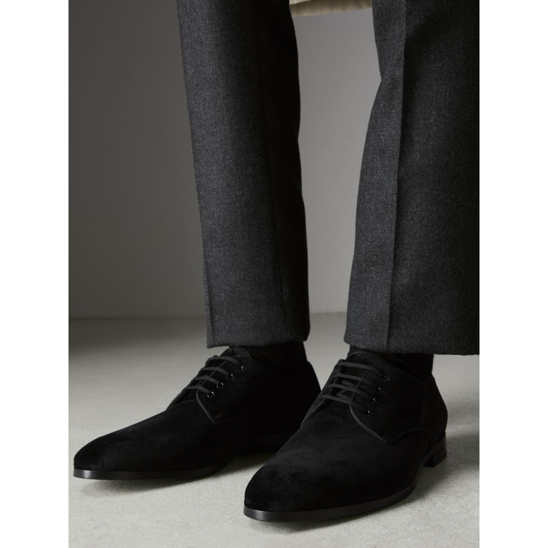 Velvet Derby Shoes in Black - Men | Burberry - gallery image 2