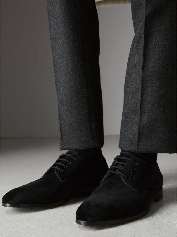 Velvet Derby Shoes in Black - Men | Burberry Australia - cell image 2