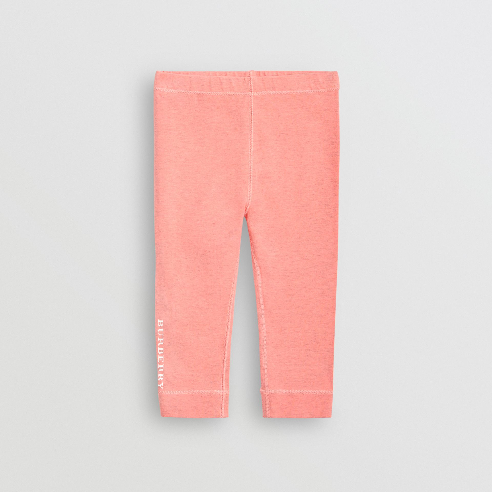 Logo Print Stretch Cotton Leggings in Pale Pink - Children | Burberry - gallery image 0