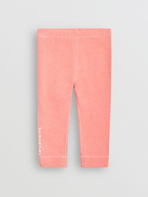Logo Print Stretch Cotton Leggings in Pale Pink