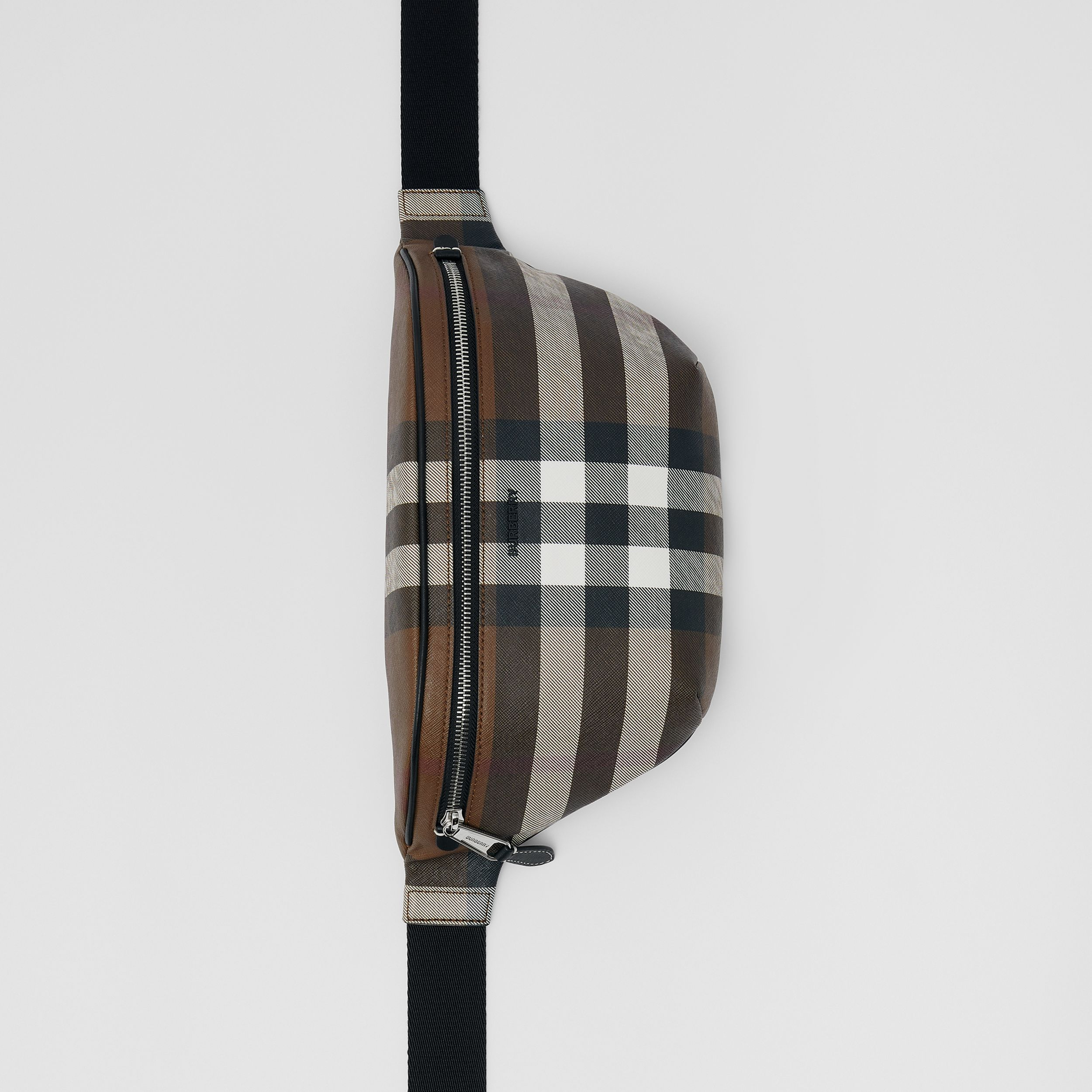 Marsupio in e-canvas con motivo tartan (Marrone Betulla Scuro) | Burberry - 4