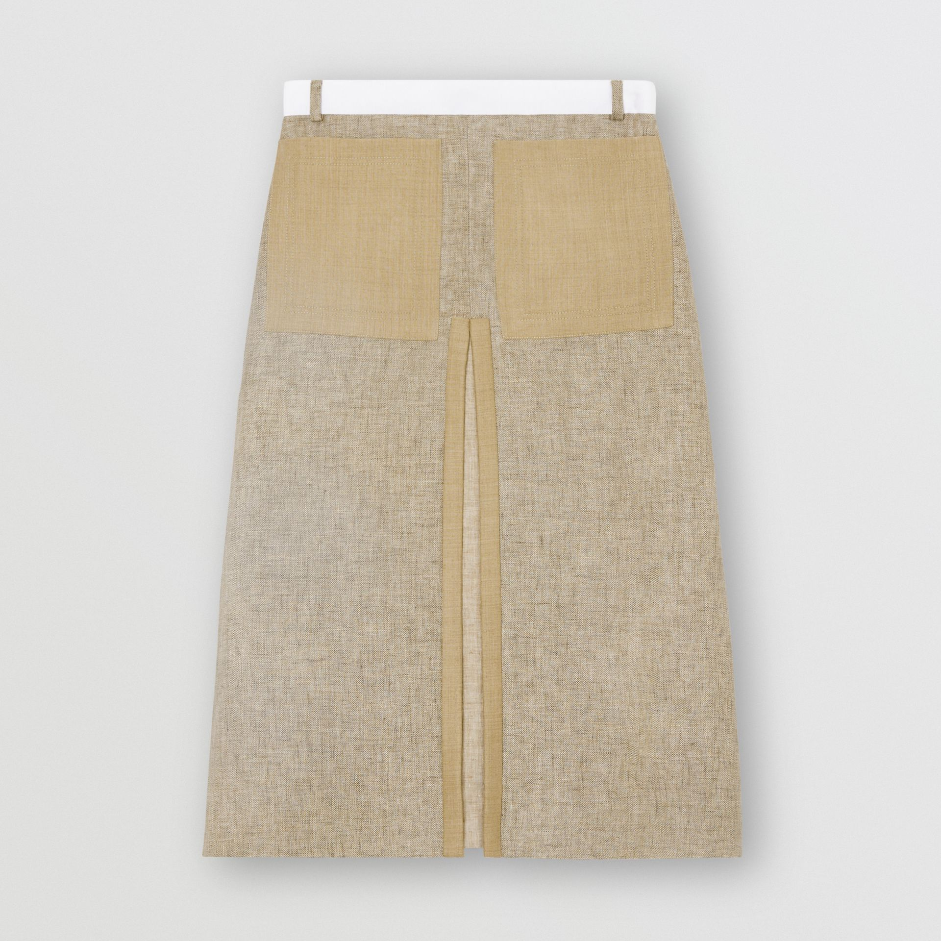 Box-pleat Detail Wool Cashmere A-line Skirt in Pecan Melange - Women | Burberry Canada - gallery image 3