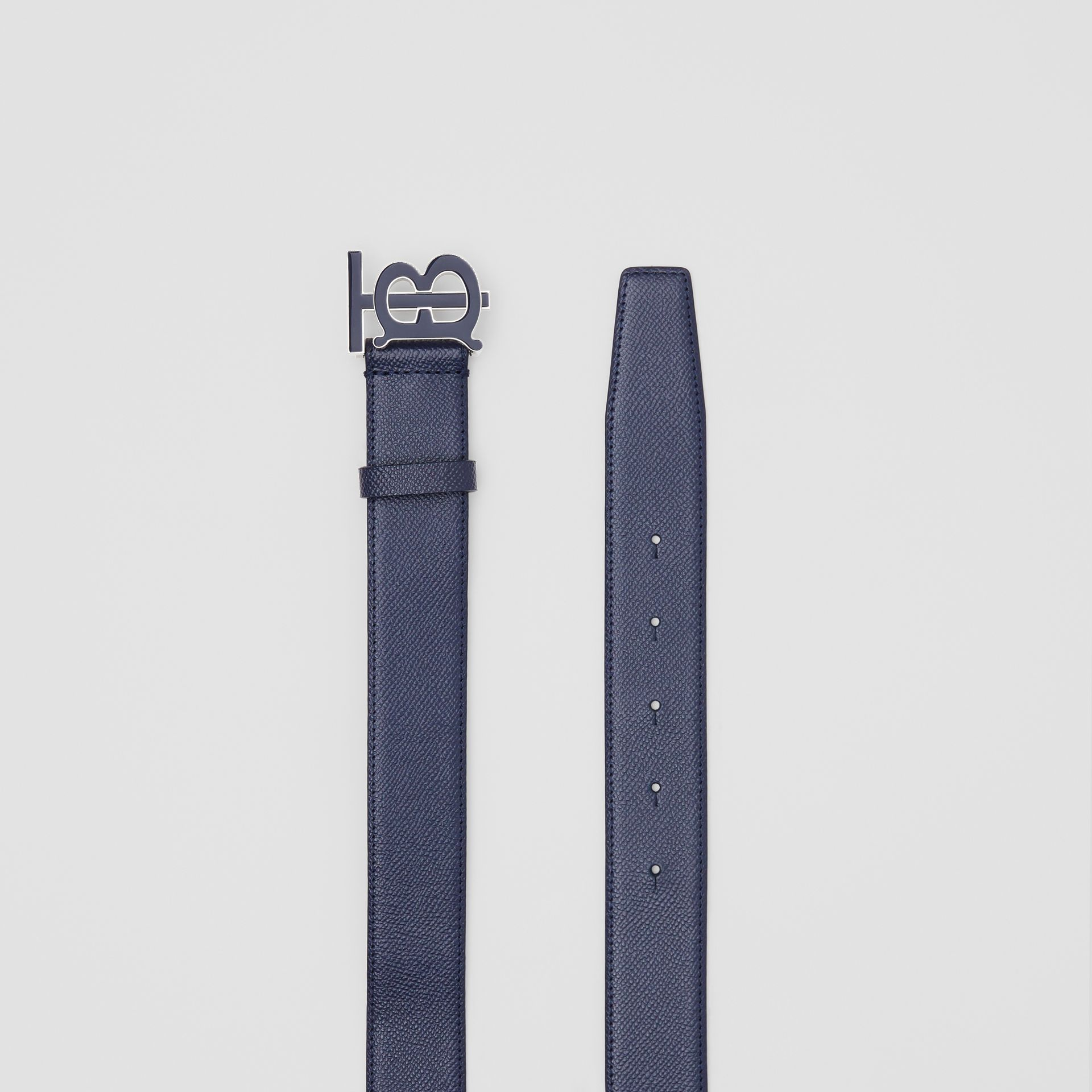 Monogram Motif Grainy Leather Belt in Navy - Men | Burberry United Kingdom - gallery image 5