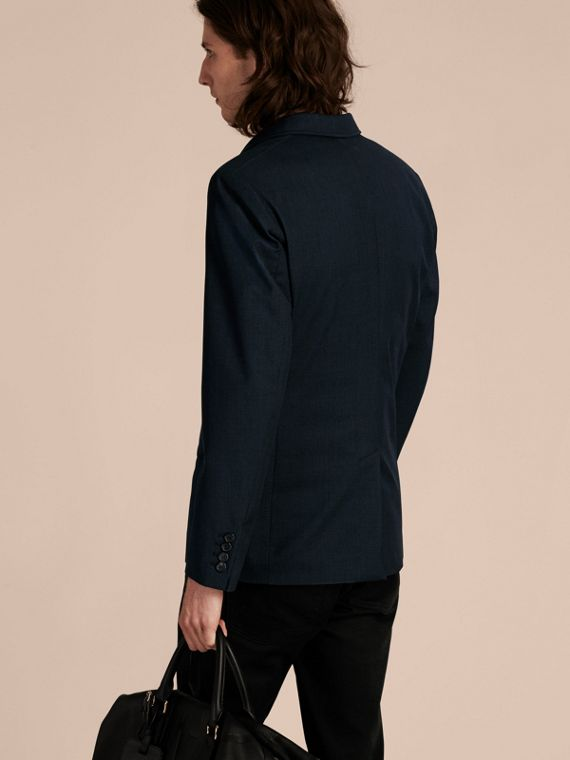 Storm blue Modern Fit Down-filled Tailored Wool Jacket - cell image 2
