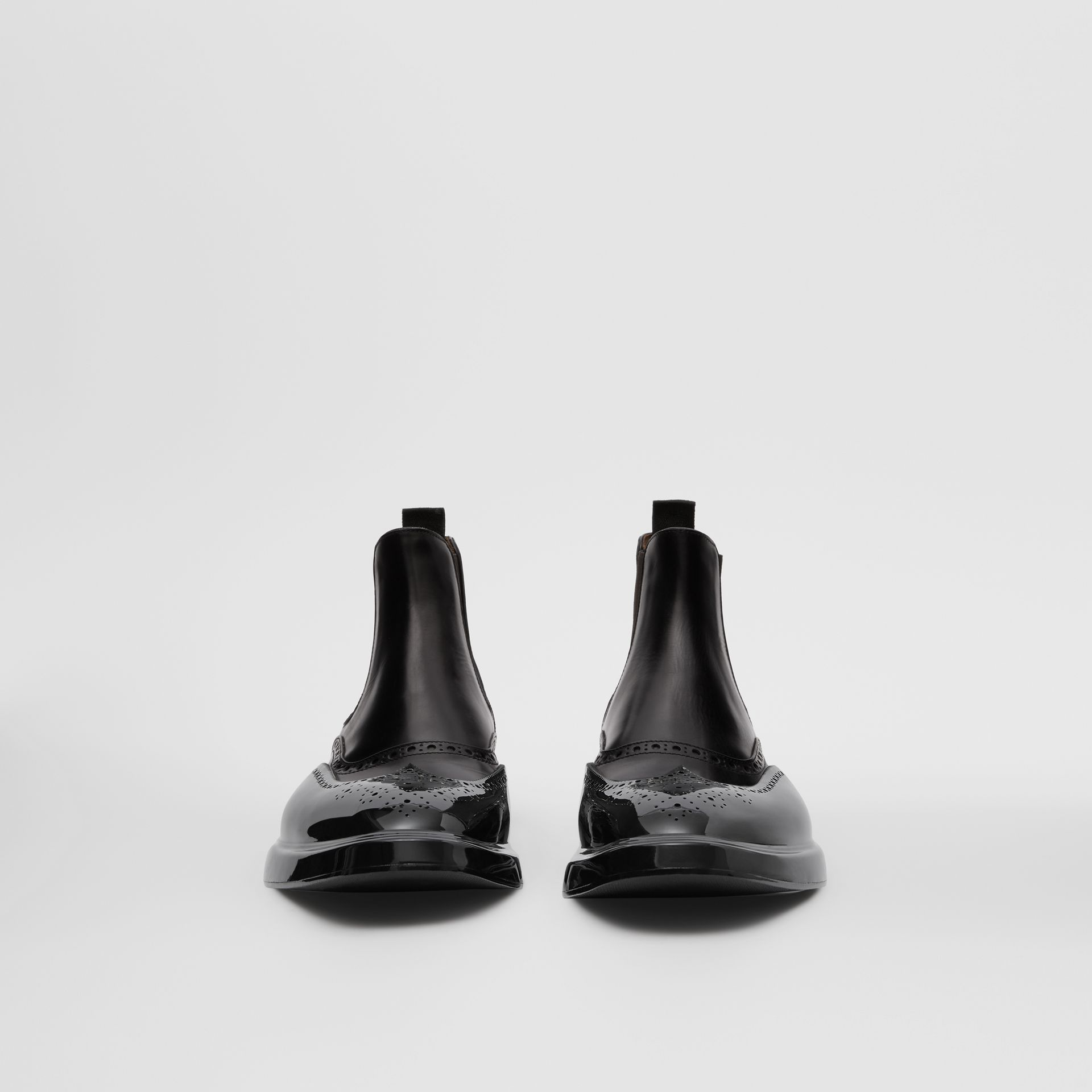 Toe Cap Detail Leather Chelsea Boots in Black | Burberry United States - gallery image 2