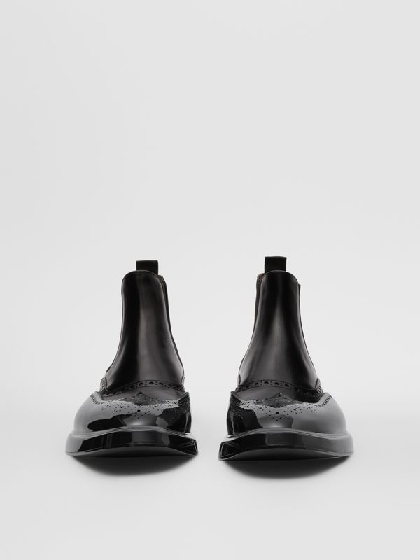 Toe Cap Detail Leather Chelsea Boots in Black | Burberry United States - cell image 2