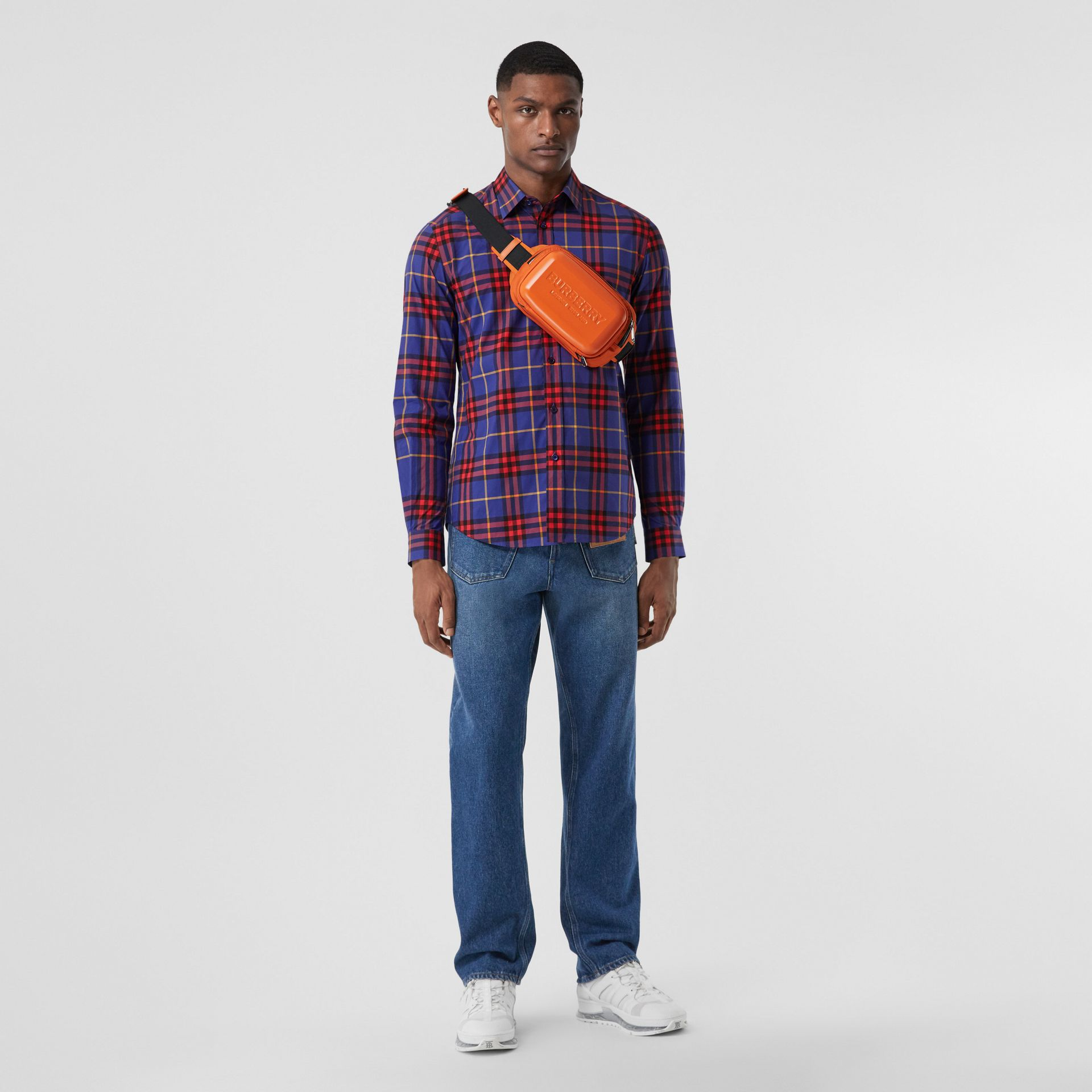 Check Cotton Poplin Shirt in Regency Purple - Men | Burberry - gallery image 0