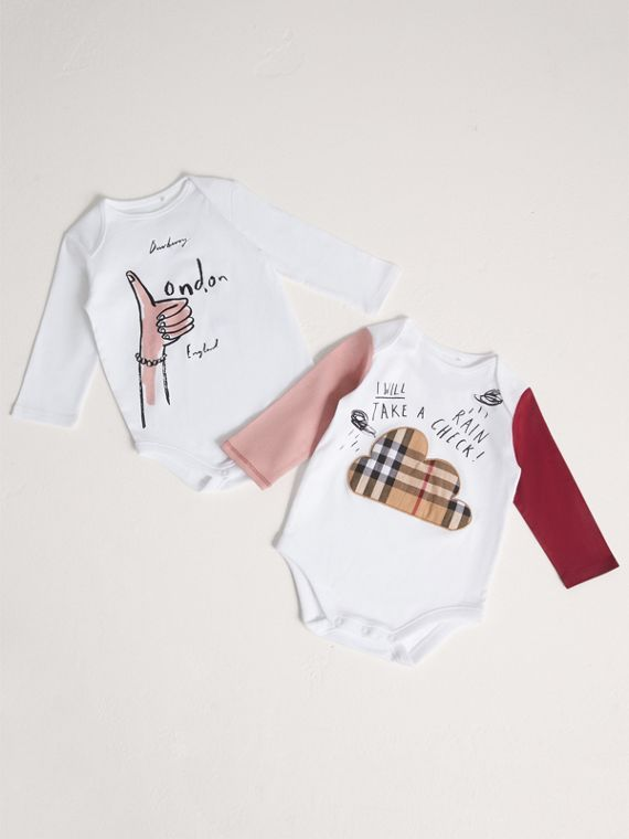 London Icons and Weather Motif Cotton Two-piece Baby Gift Set in White