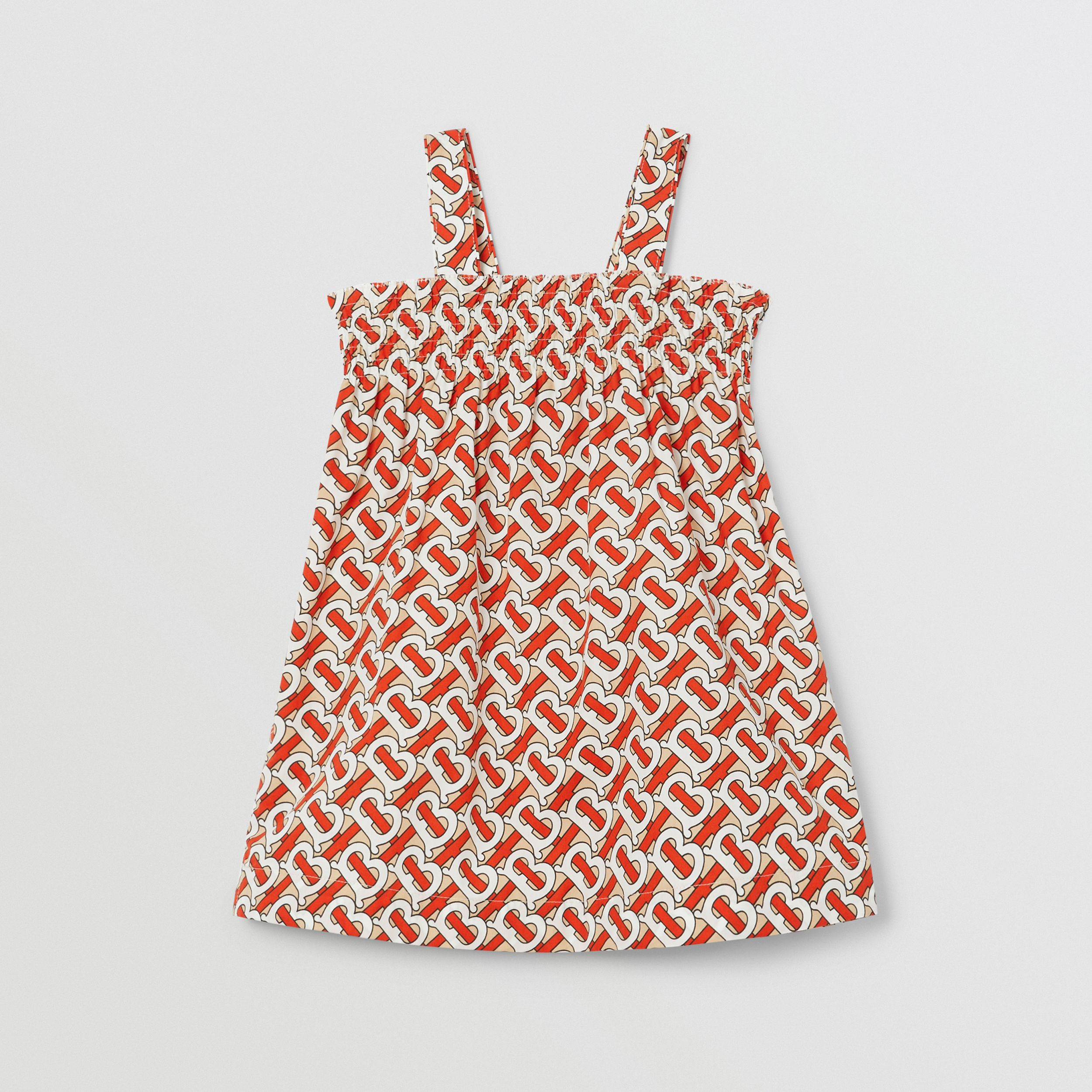 Smocked Monogram Print Cotton Poplin Dress in Vermilion Red - Children | Burberry - 1