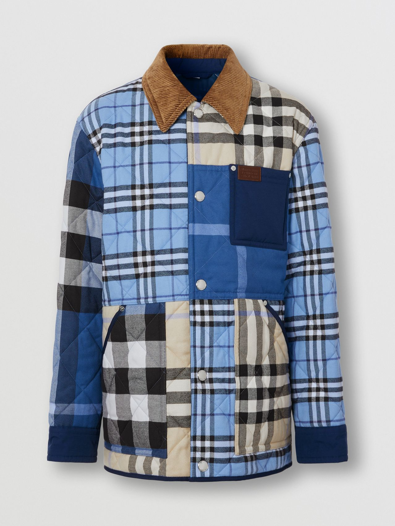 Corduroy Collar Patchwork Check Cotton Overshirt in Light Almond