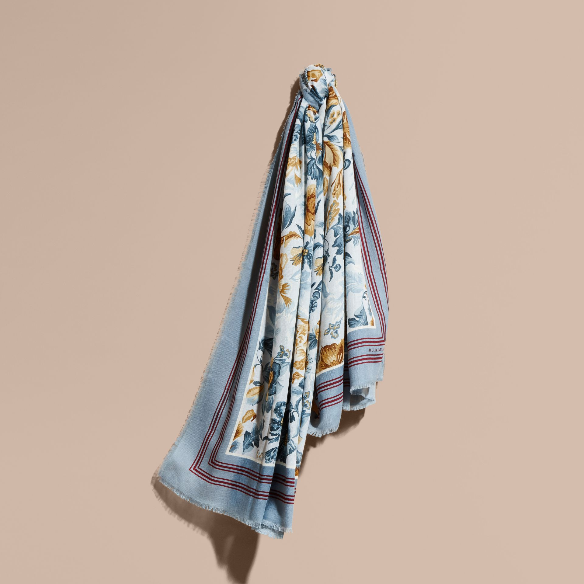 Garden Floral Print Cashmere Scarf Pale Sky Blue - gallery image 1