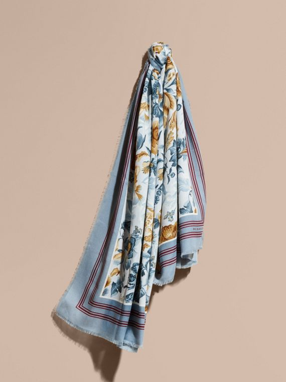 Garden Floral Print Cashmere Scarf in Pale Sky Blue