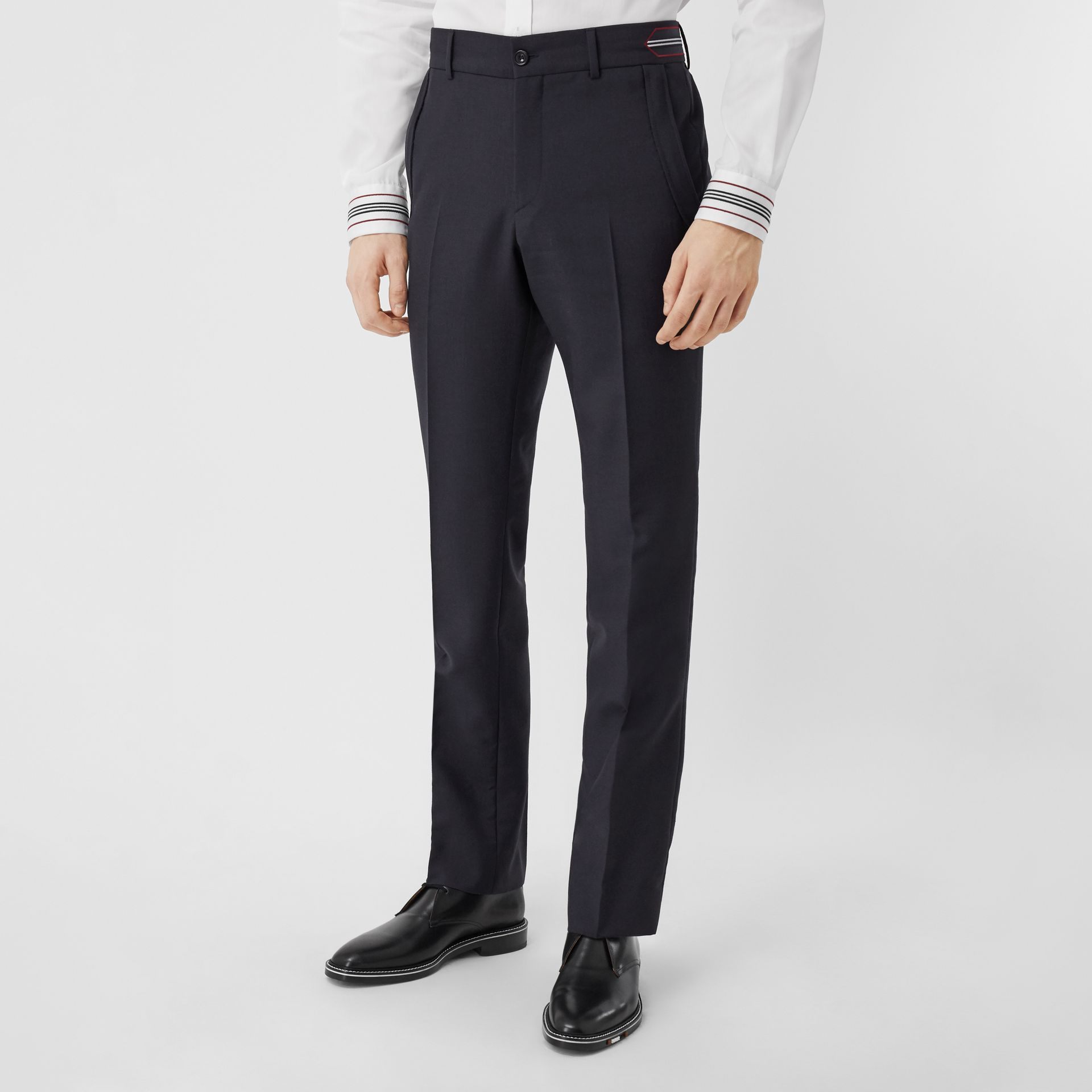 Classic Fit Stripe Detail Wool Mohair Tailored Trousers in Navy | Burberry - gallery image 5
