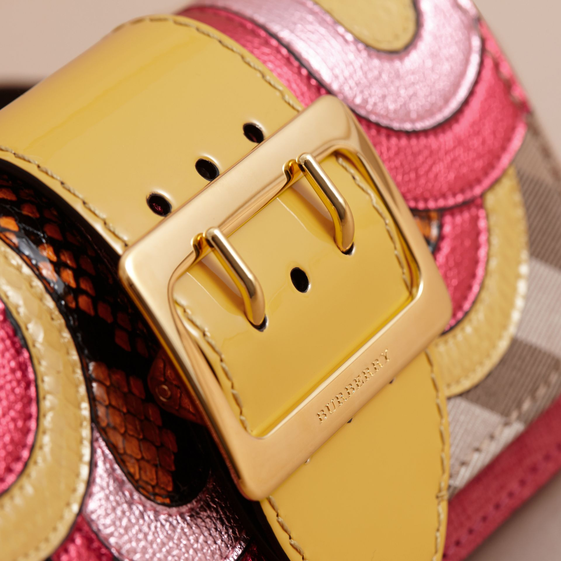 The Small Buckle Bag in House Check and Leather Bright Pink - gallery image 2