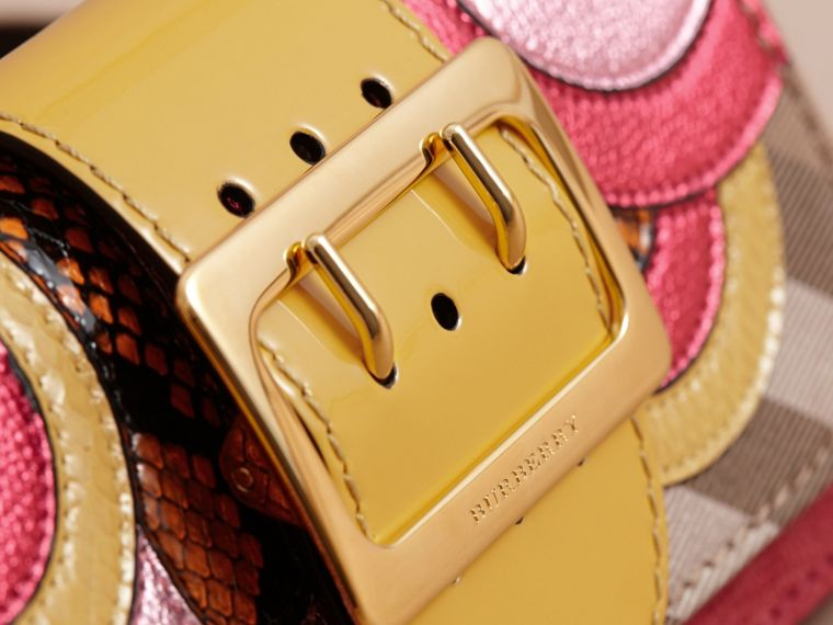 The Small Buckle Bag in House Check and Leather Bright Pink - cell image 1