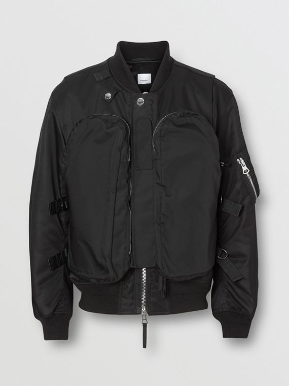 Nylon Twill Bomber Jacket with Detachable Gilet in Black