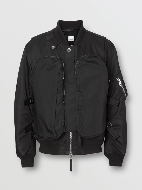Nylon Twill Bomber Jacket with Detachable Gilet in Black - Men | Burberry Canada - cell image 3