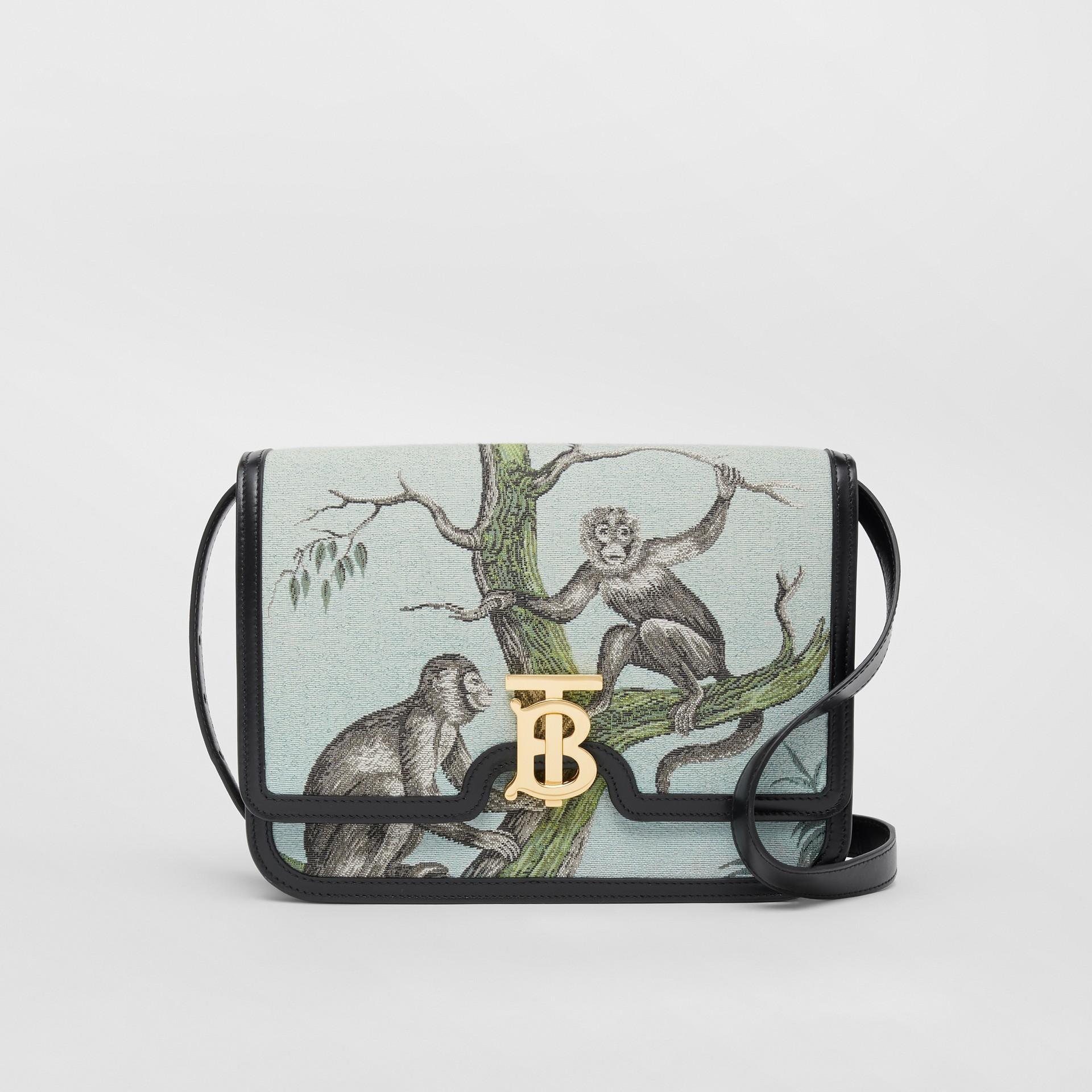 Bolsa TB de couro com recorte de macacos em jacquard - Pequena (Preto/verde Opala) - Mulheres | Burberry - galeria de imagens 0