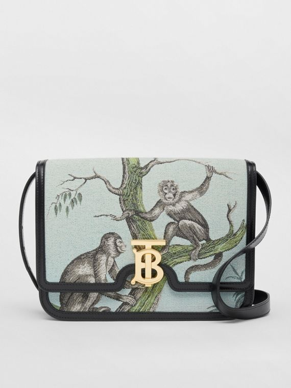 Medium Monkey Jacquard and Leather TB Bag in Black/opal Green