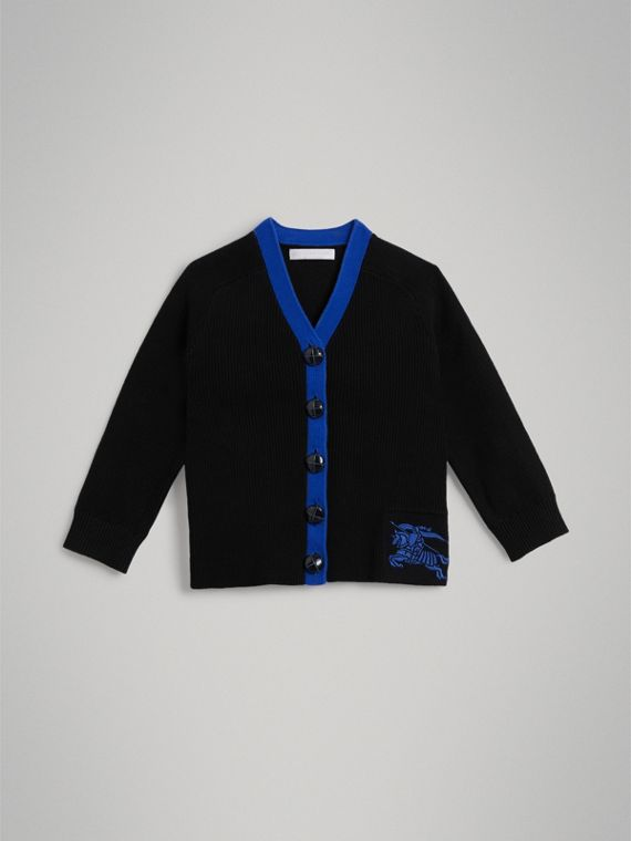Two-tone Cotton Knit Cardigan in Black