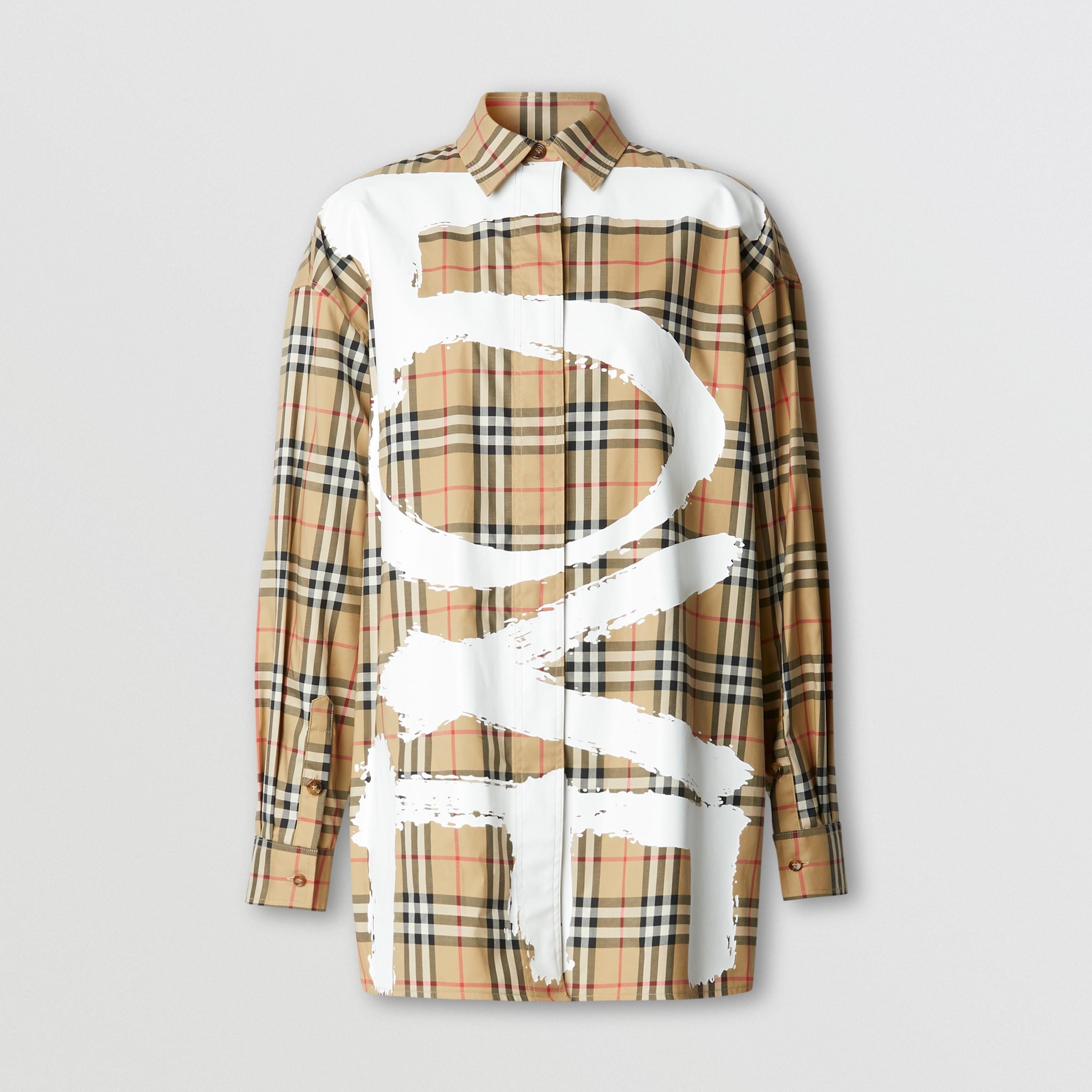Camicia oversize in cotone con scritta Love e motivo Vintage check (Beige Archivio) - Donna   Burberry - 4