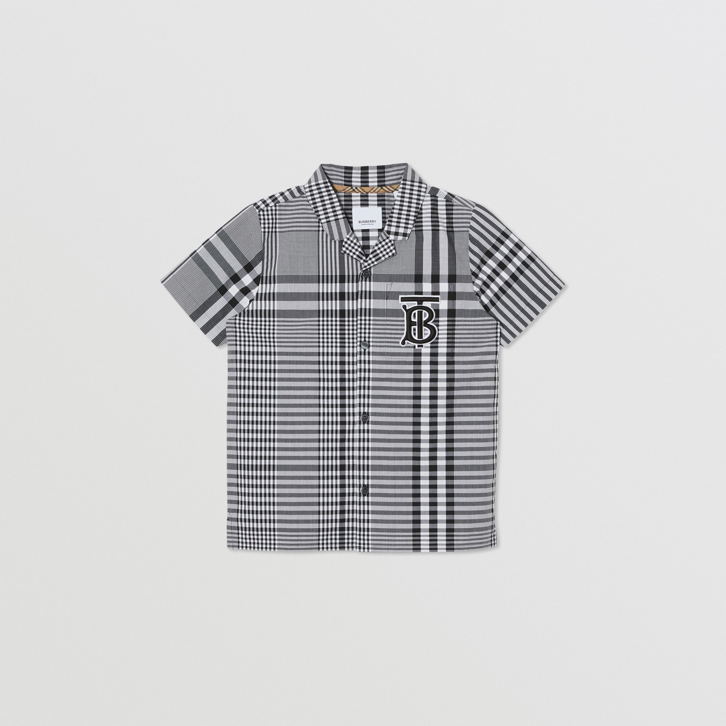 Short-sleeve Monogram Motif Check Cotton Shirt in Black | Burberry - 1