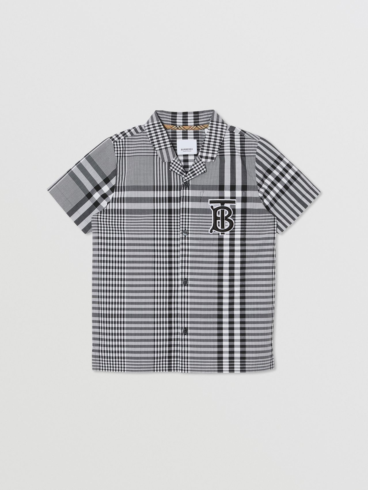 Short-sleeve Monogram Motif Check Cotton Shirt in Black