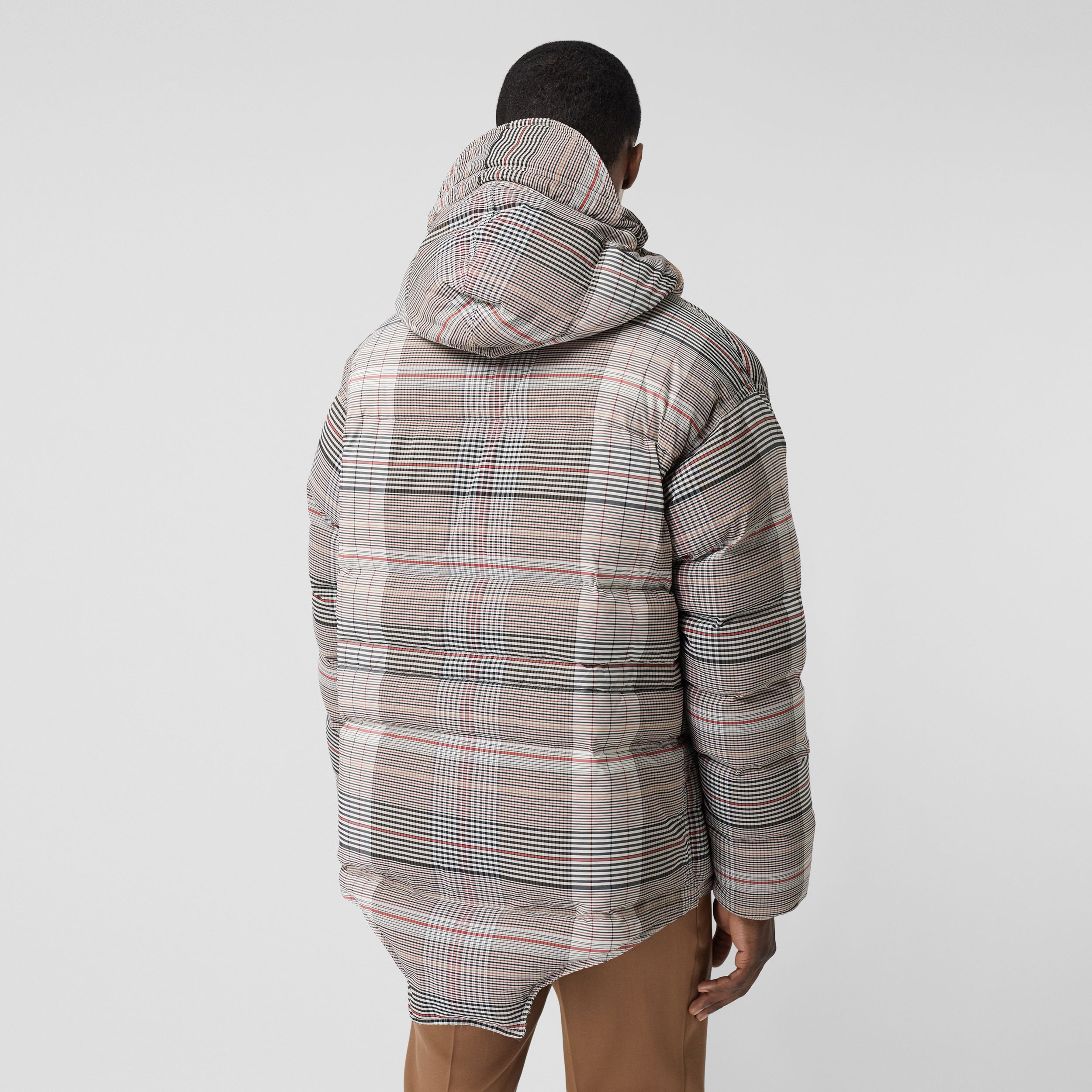 Cut-out Hem Check Nylon Twill Puffer Jacket in Beige - Men | Burberry - 3