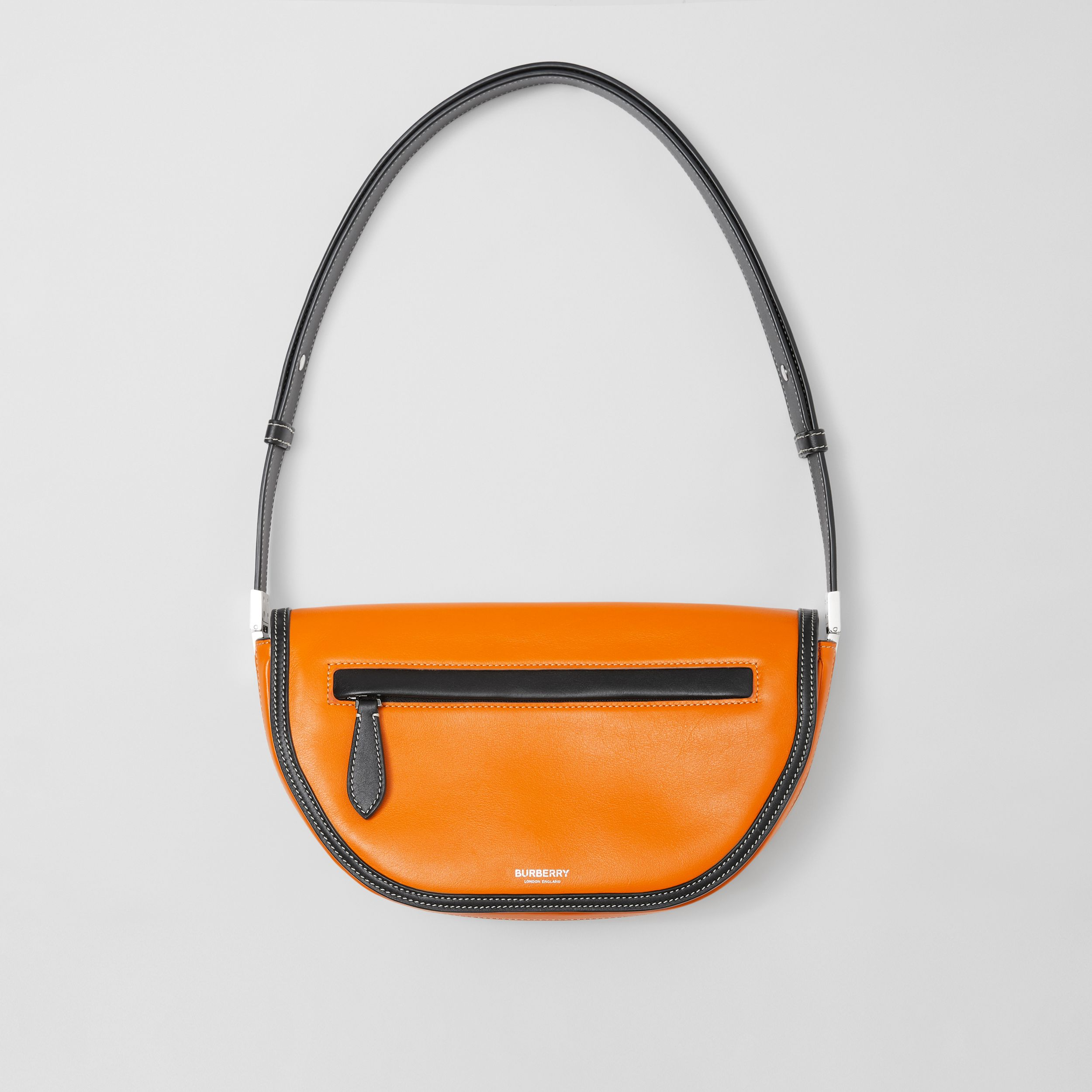 Small Two-tone Leather Olympia Bag in Deep Orange - Women | Burberry United Kingdom - 1
