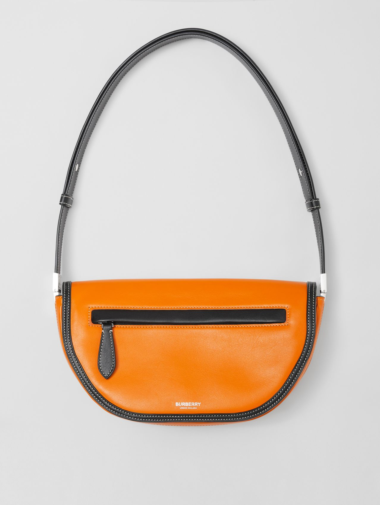 Small Two-tone Leather Olympia Bag in Deep Orange
