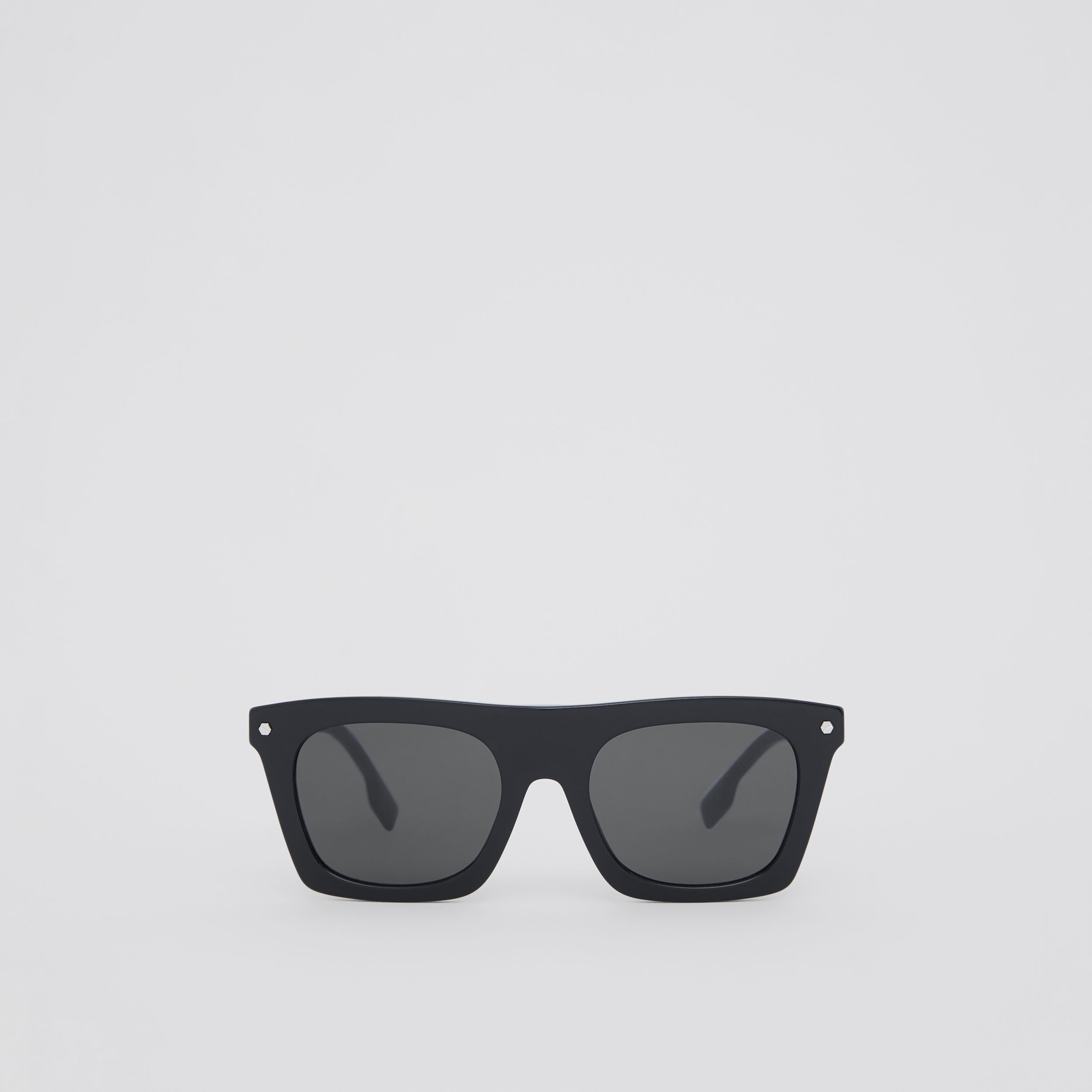 Icon Stripe Detail Rectangular Frame Sunglasses in Black - Men | Burberry - 1