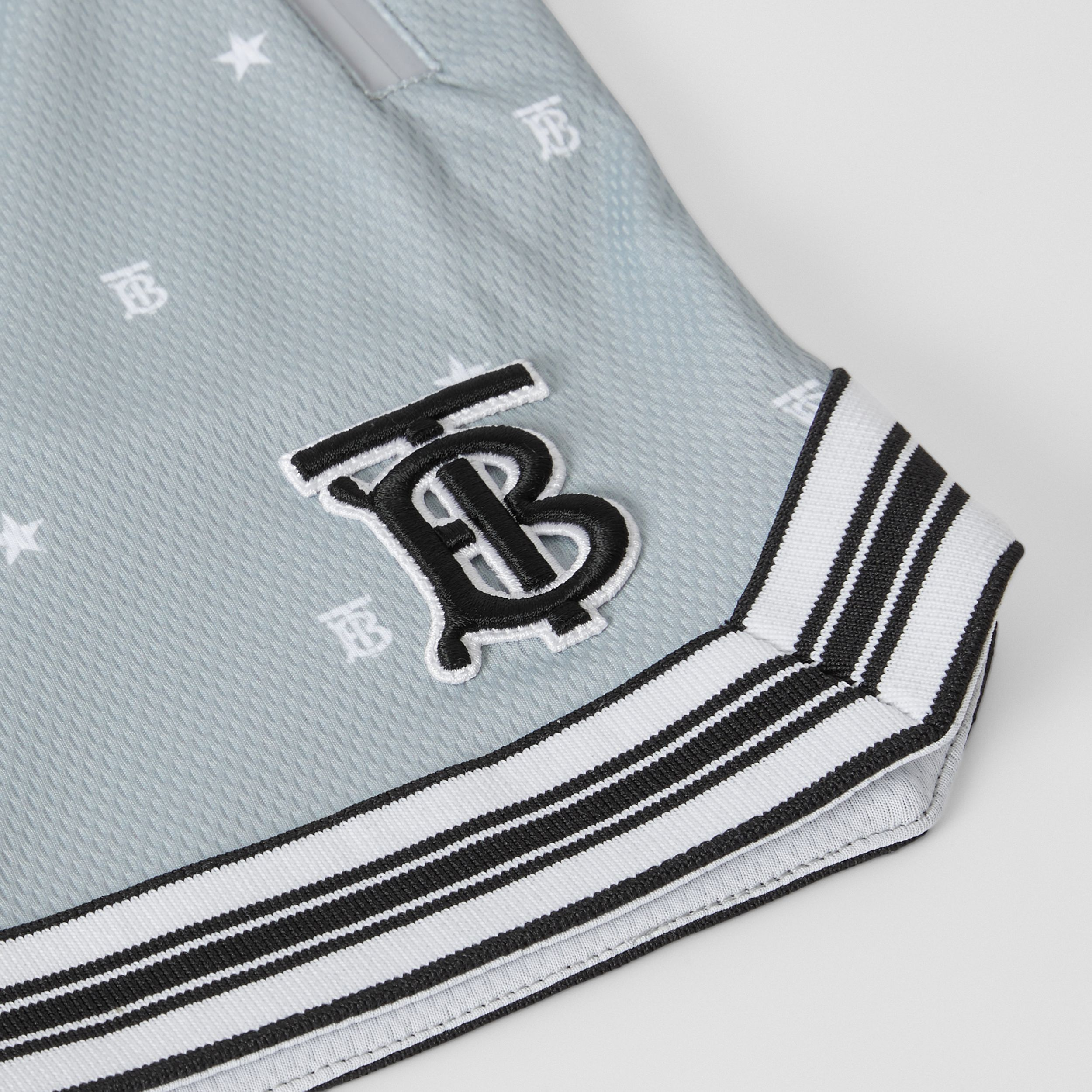 Star and Monogram Motif Jersey Mesh Shorts in Light Grey | Burberry - 2