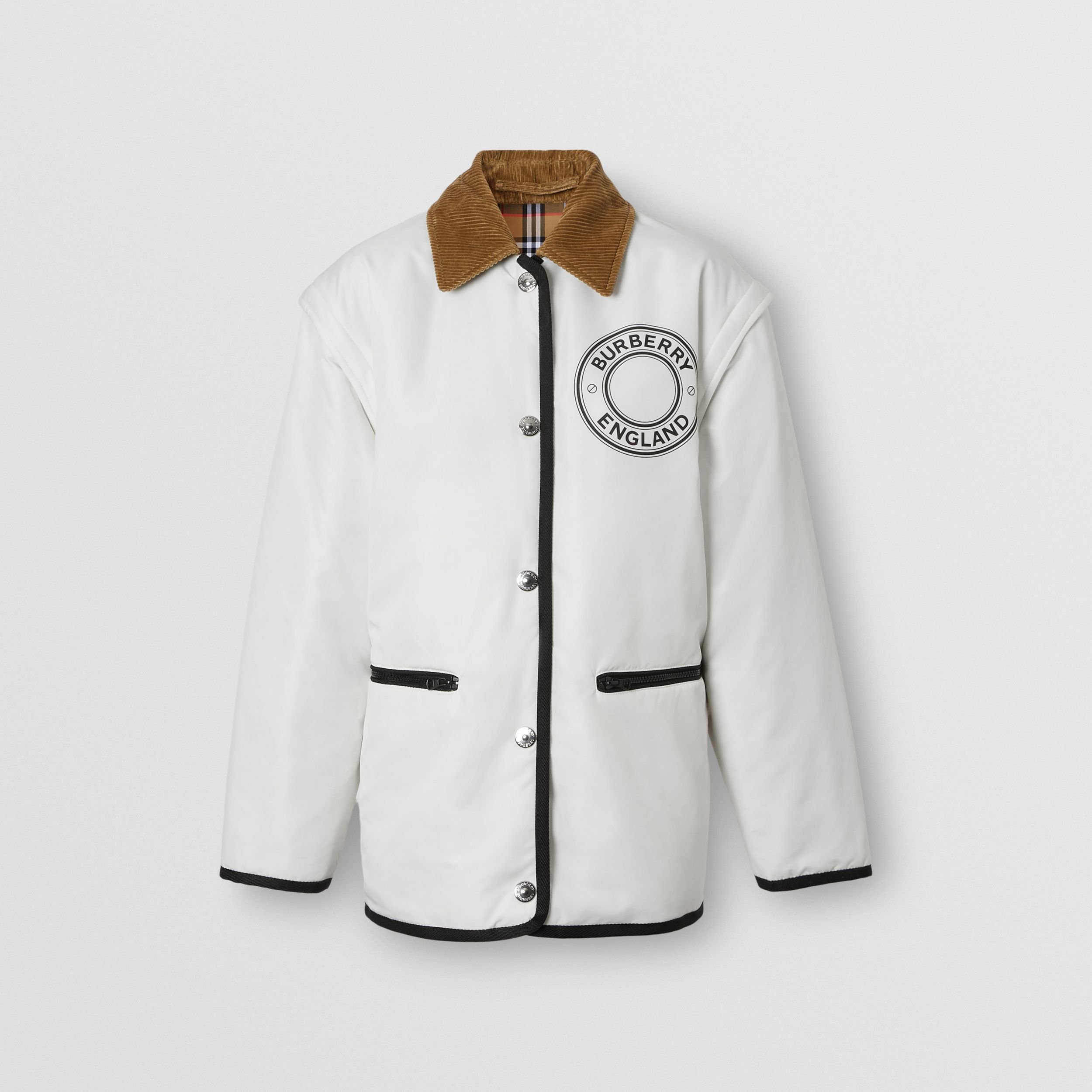 Detachable Sleeve Reversible Logo Graphic Jacket in Natural White - Women | Burberry Australia - 4