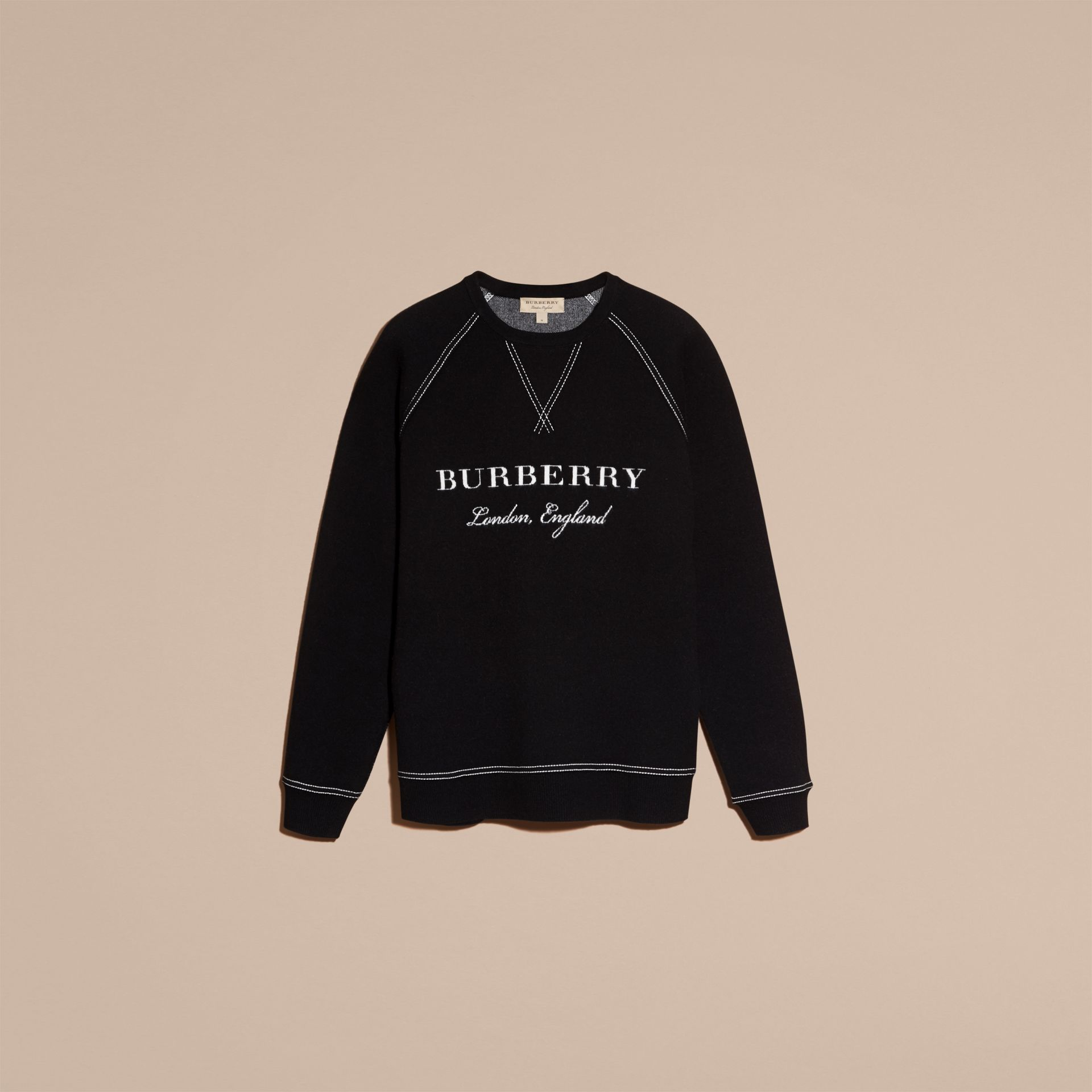 Topstitch Detail Wool Cashmere Blend Sweatshirt in Black - Men | Burberry - gallery image 4