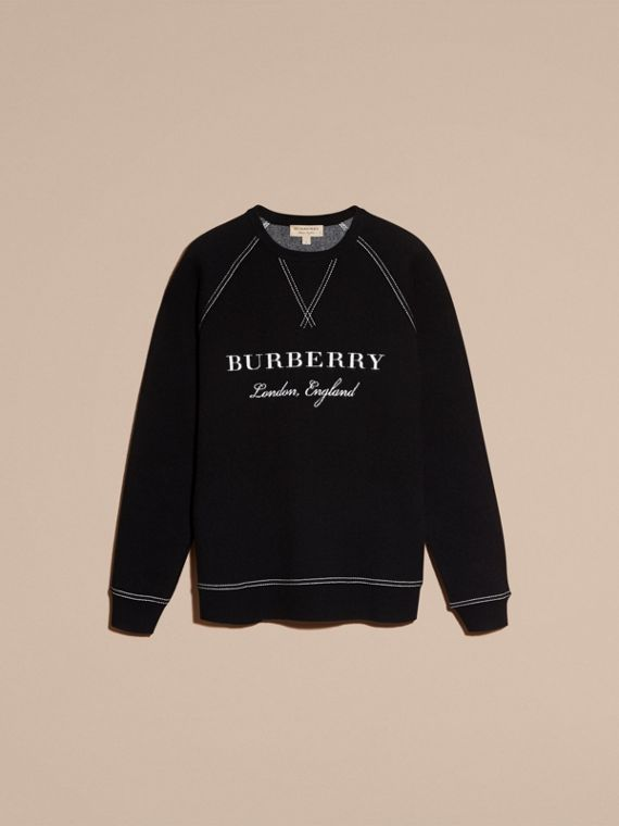 Topstitch Detail Wool Cashmere Blend Sweatshirt in Black - Men | Burberry - cell image 3