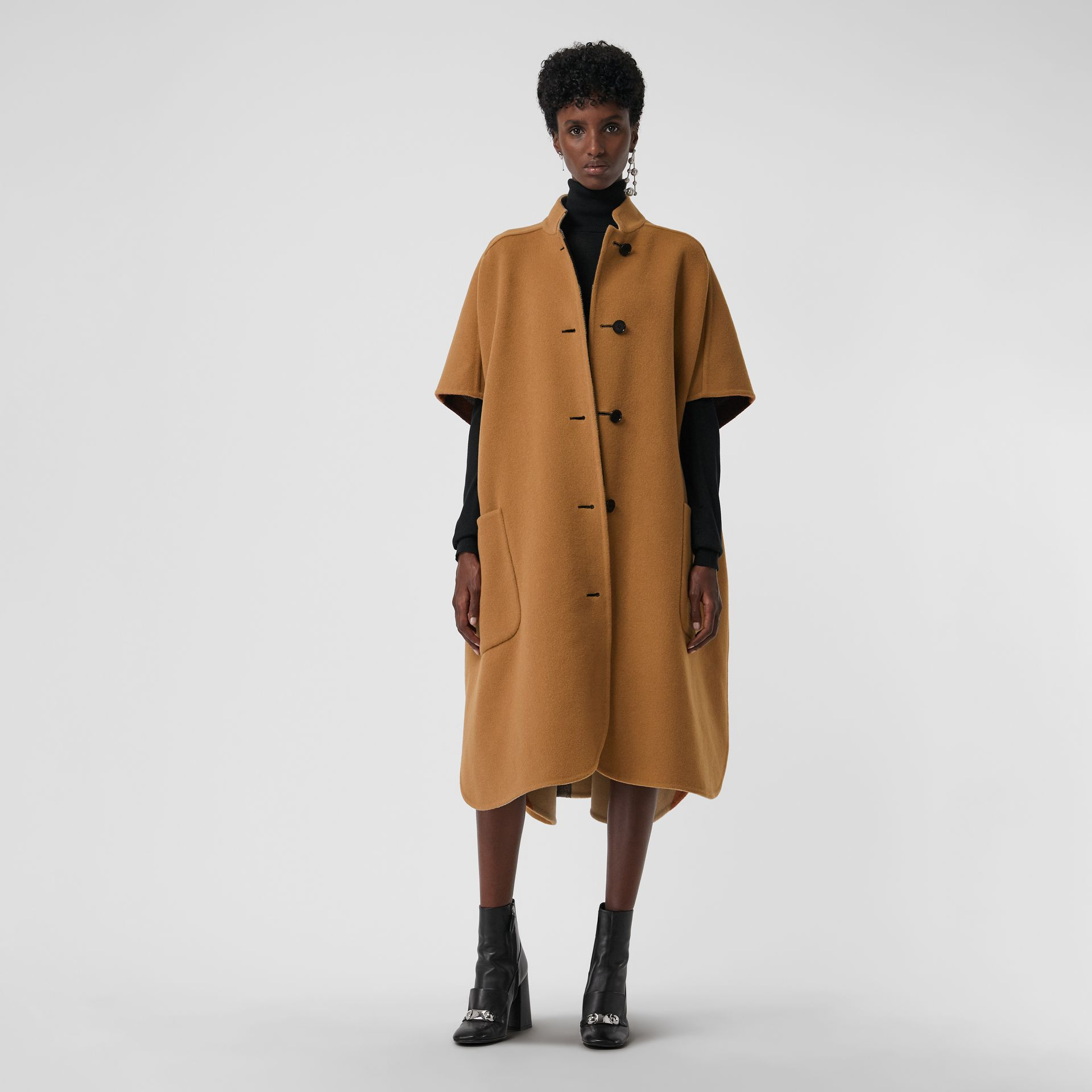 Reversible Check Oversized Poncho in Camel - Women | Burberry - gallery image 0