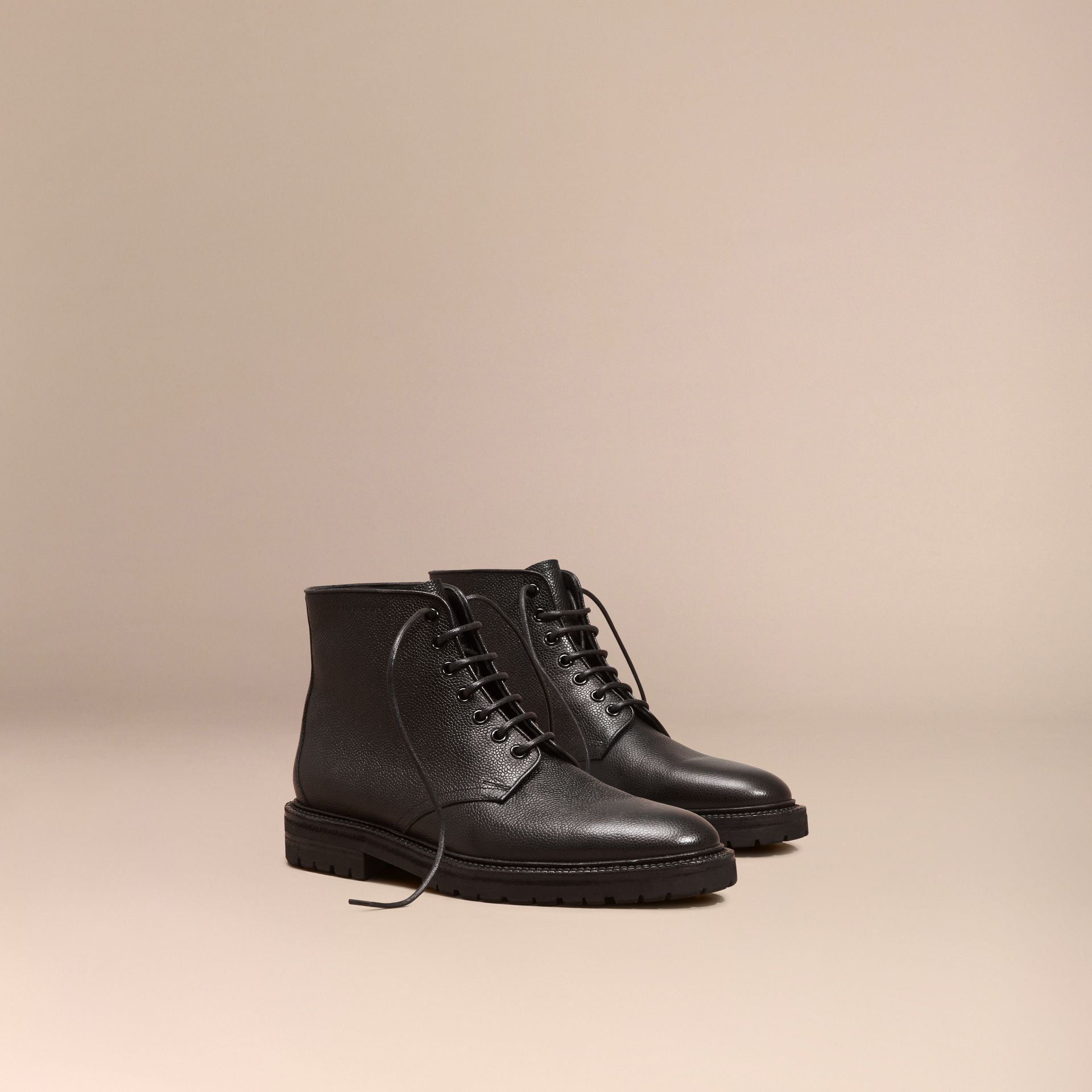 Black Lace-up Grainy Leather Boots Black - gallery image 1