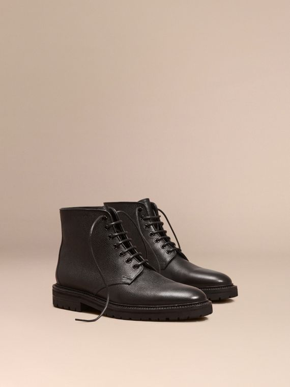 Lace-up Grainy Leather Boots Black