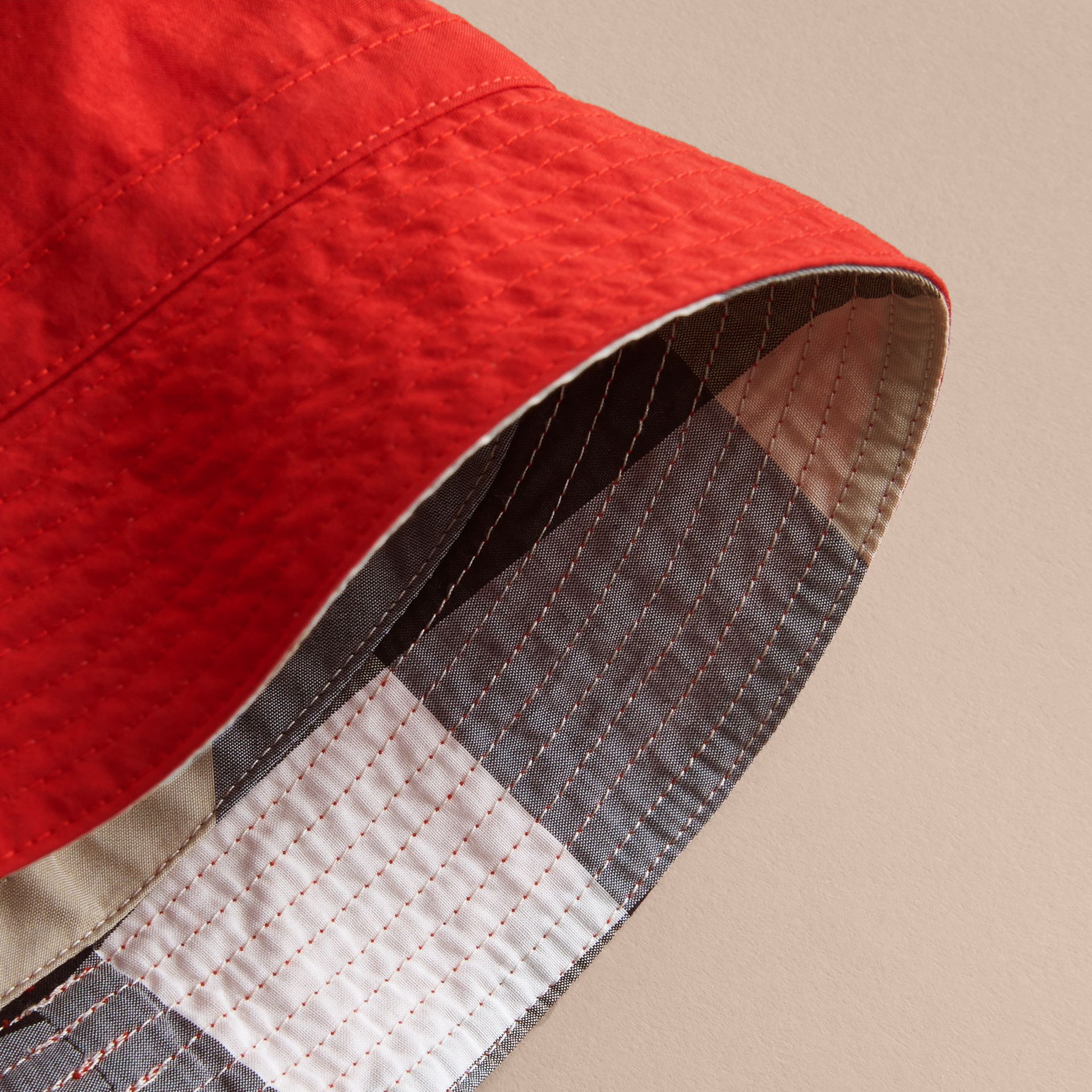 Check Detail Bucket Hat in Military Red | Burberry - gallery image 3
