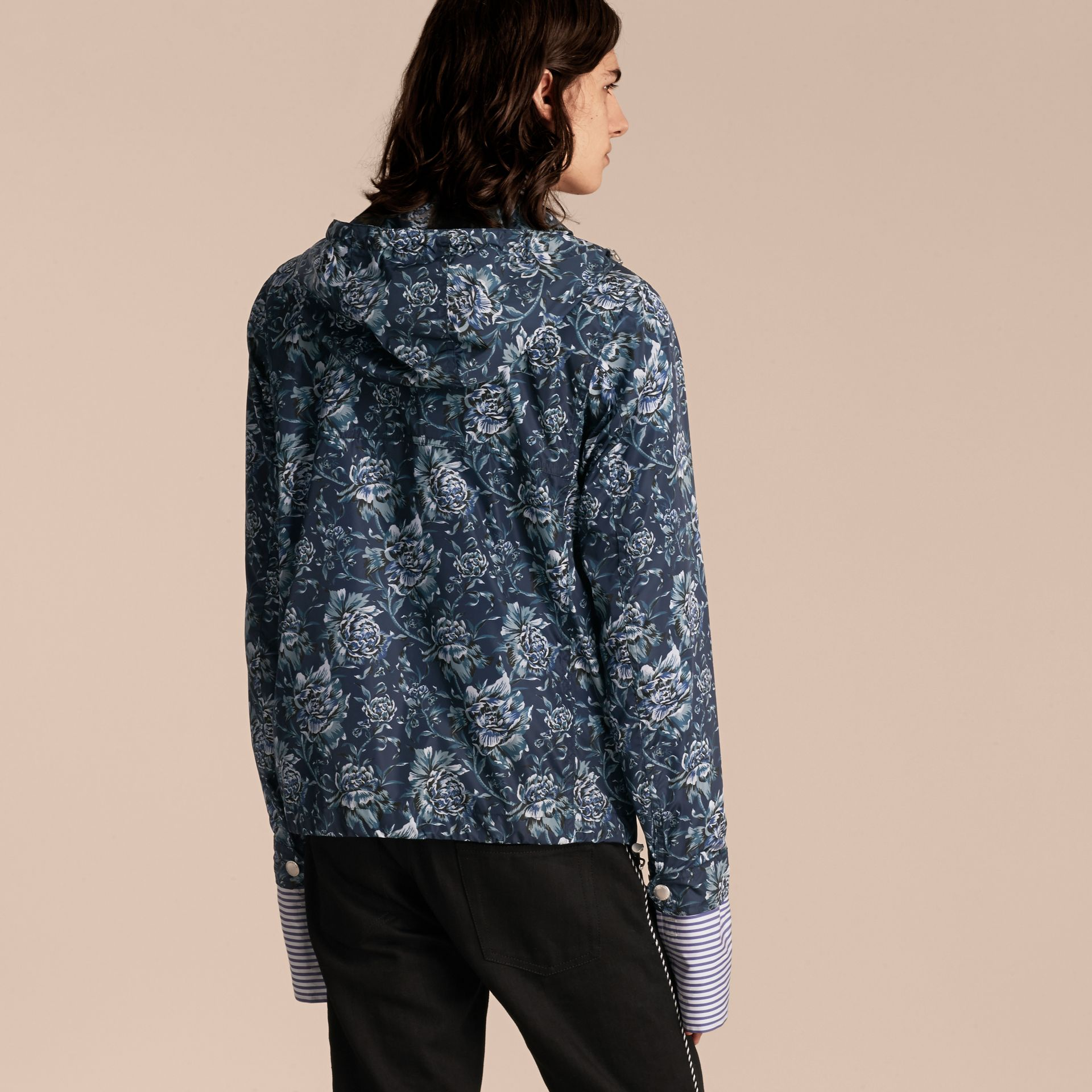 Ink blue Peony Rose Print Lightweight Jacket - gallery image 3