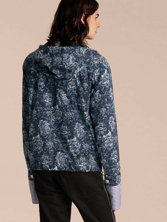 Ink blue Peony Rose Print Lightweight Jacket - cell image 2