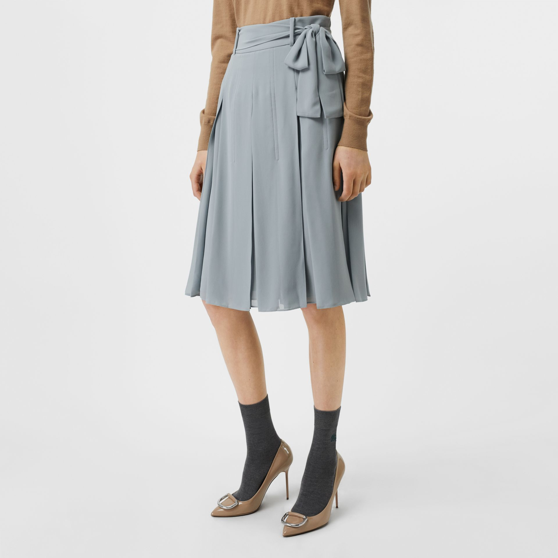 Tie-waist Pleated Georgette Skirt in Dusty Blue - Women | Burberry United Kingdom - gallery image 4